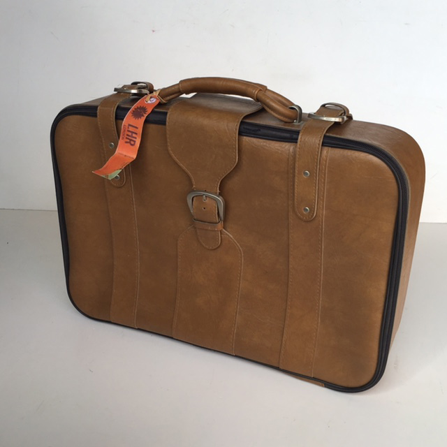 SUI0044 SUITCASE, Small Brown Vinyl w Buckle - 1970-80s  $18.75