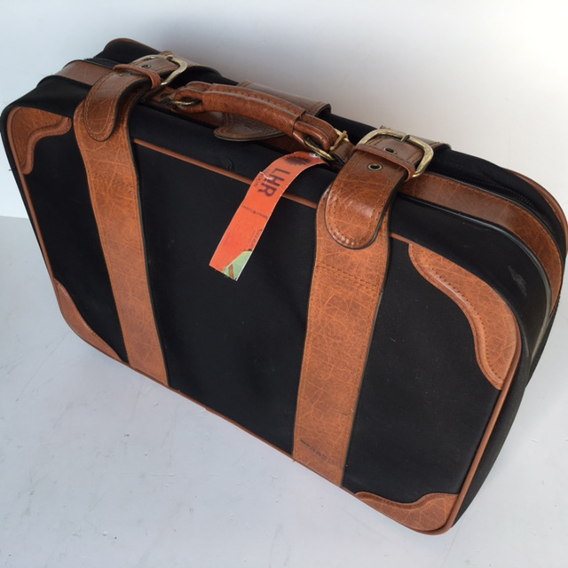 SUI0046 SUITCASE, Large Black w Tan Vinyl Straps - 1970-80s $22.50