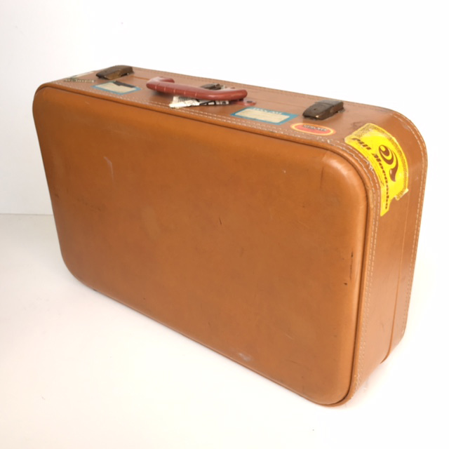 SUI0051 SUITCASE, Large Tan Hard Case w Stickers - 1970-80s $22.50