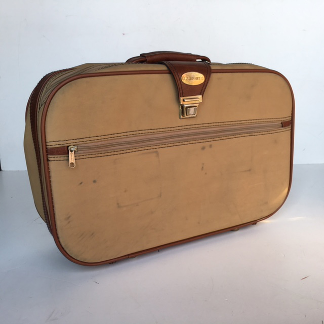 SUI0053 SUITCASE, Small Tan w Brown Vinyl Trim Airport - 1970-80s $12.50