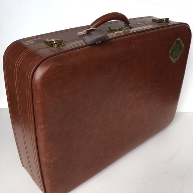 SUI0049 SUITCASE, Large Brown Vinyl - 1970-80s $22.50