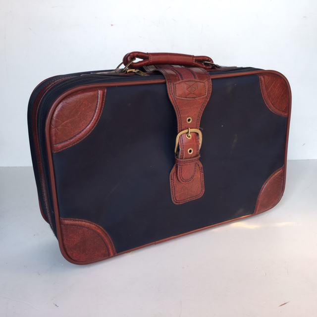 SUI0055 SUITCASE, Cabin Bag - Small Navy w Brown Vinyl Trim 1970-80S $12.50