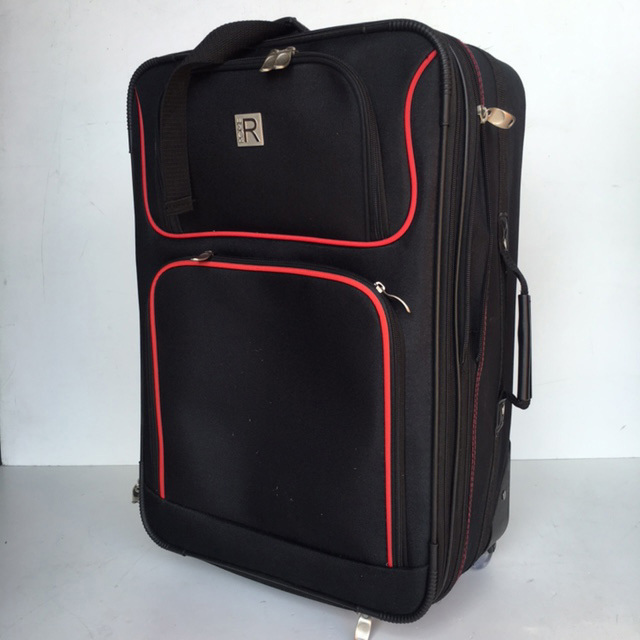 SUI0059 SUITCASE, Cabin Bag - Black Rome w Red Trim  $18.75