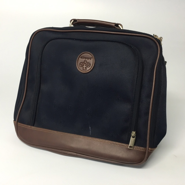 SUI0064 SUITCASE, Cabin Bag - Navy Airport w Brown Trim  $12.50