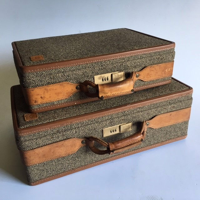 SUITCASE, Hartmann Tweed & Tan Leather Medium (SUI0146) $50 & Small (SUI0147) $31.25