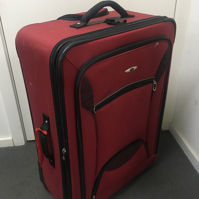 SUI0156 SUITCASE, Large Dark Red Fabric $22.50