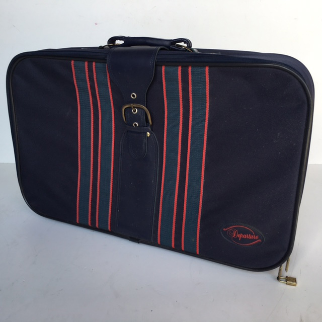 SUI0074 SUITCASE, Large Navy w Red Blue Stripe $22.50