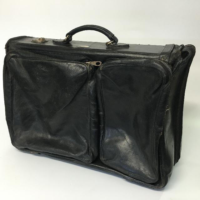 SUI0078 SUITCASE, Large Soft Black Leather $30