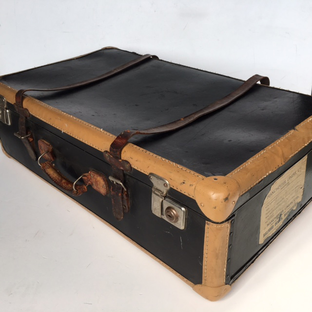 SUI0097 SUITCASE, Vintage Style - Large Black Leather w Tan Trim $37.50