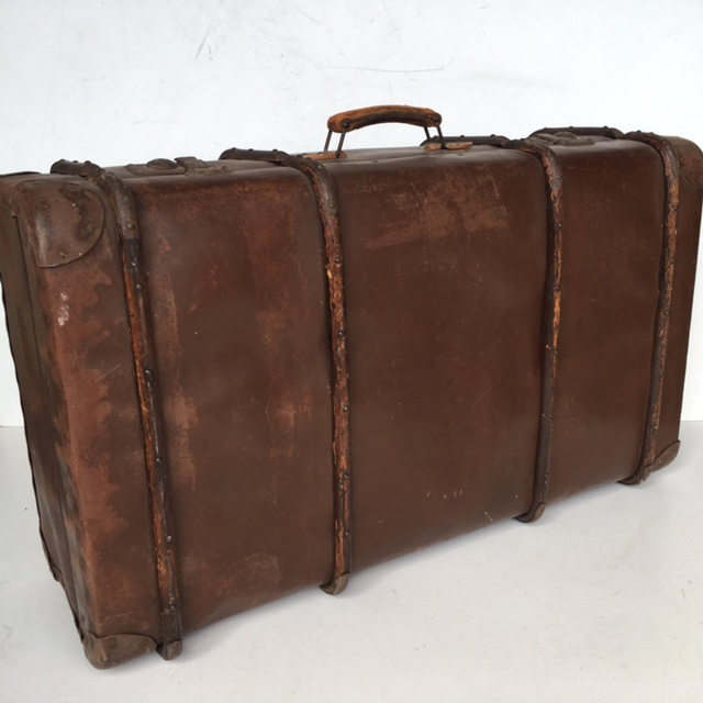 SUI0099 SUITCASE, Vintage Style - Large Brown Globite w Timber Detail $22.50