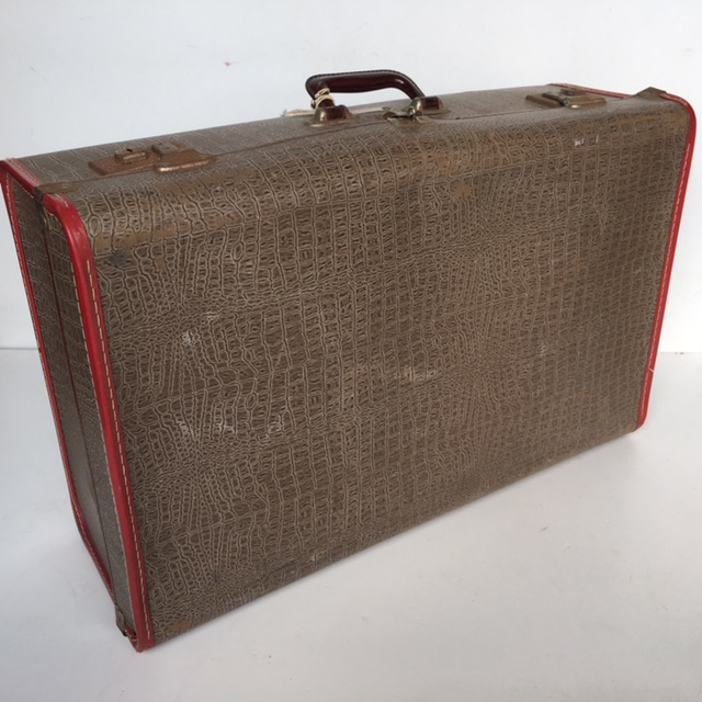 SUI0098 SUITCASE, Vintage Style - Large Brown Faux Croc w Burgundy Trim $22.50
