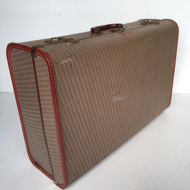 SUI0101 SUITCASE, Vintage Style - Large Brown w Burgundy Trim $22.50