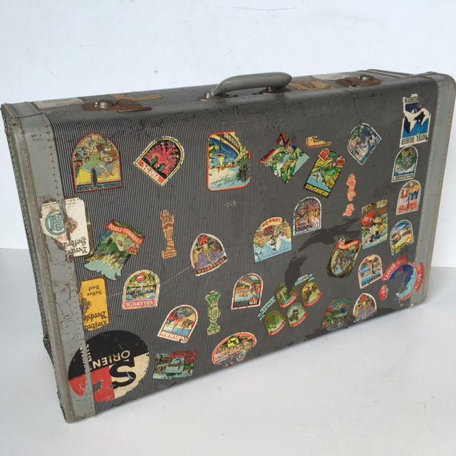 SUI0106 SUITCASE, Vintage Style - Large Grey Globite w Travel Stickers $30
