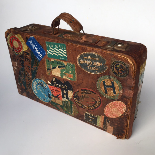 SUI0120 SUITCASE, Vintage Style - Medium Brown Leather w Travel Stickers $22.50