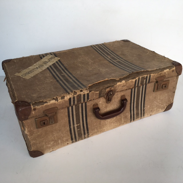 SUI0121 SUITCASE, Vintage Style - Medium Brown Strip Christmas Island $22.50