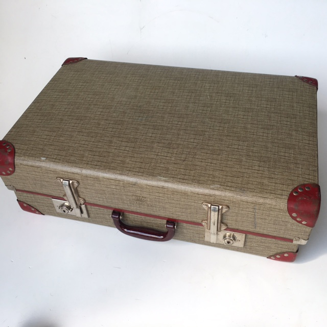 SUI0128 SUITCASE, Vintage Style - Medium Grey Thatch Globite w Burgundy Detail $18.75