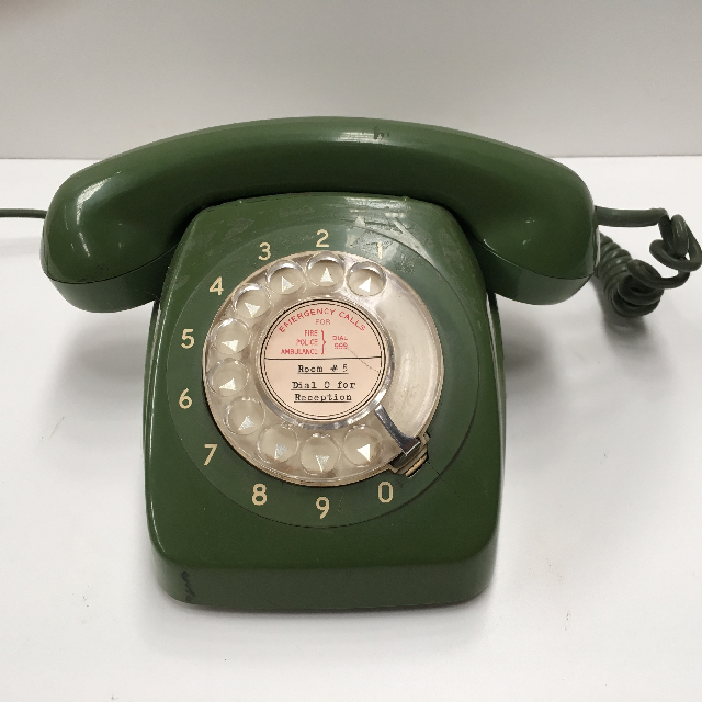PHO0122 PHONE, Telephone 1960s Green Rotary Dial $25