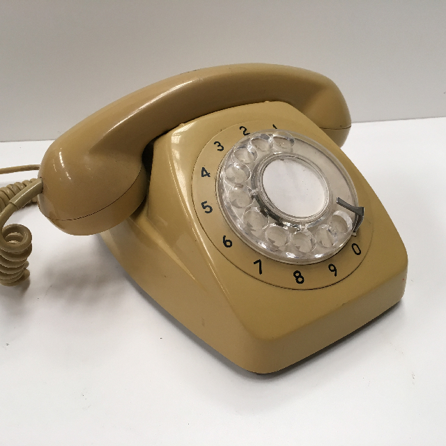 PHO0123 PHONE, Telephone 1960s Mustard Rotary Dial $25