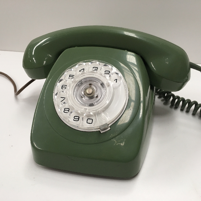 PHO0126 PHONE, Telephone 1970s Green Rotary Dial $25