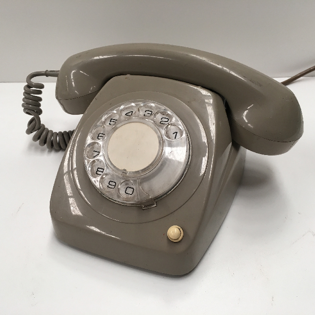 PHO0127 PHONE, Telephone 1970s Grey Rotary Dial $25