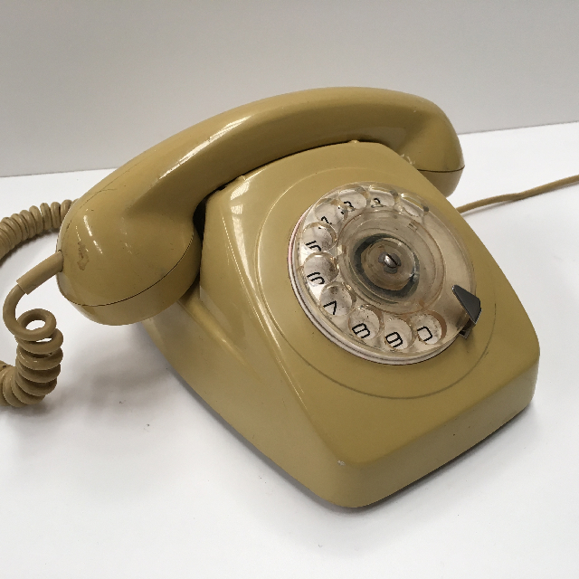 PHO0128 PHONE, Telephone 1970s Mustard Rotary Dial $25