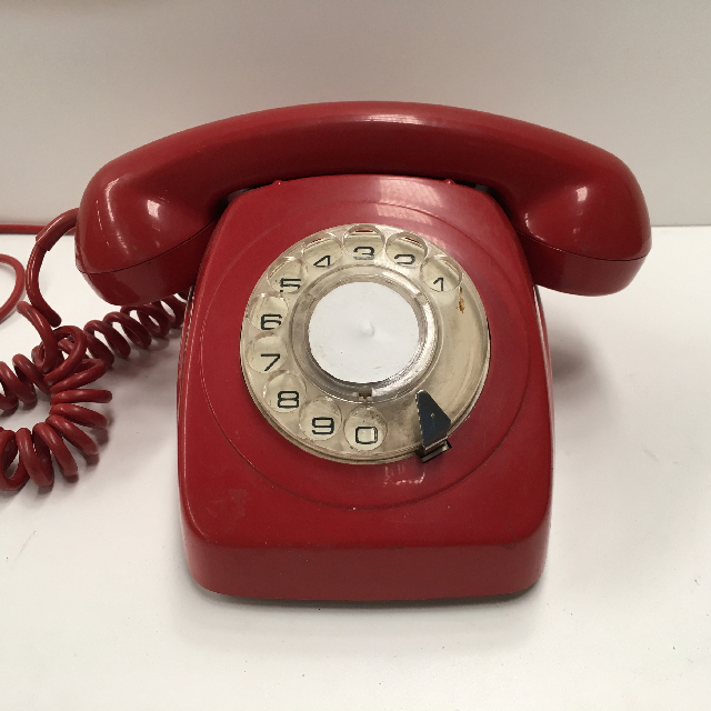 PHO0129 PHONE, Telephone 1970s Red 800 Series Rotary Dial $25