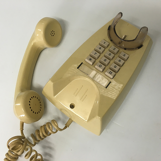 PHO0164 PHONE, Telephone 1980s Mustard Push Button Wall Mount $25