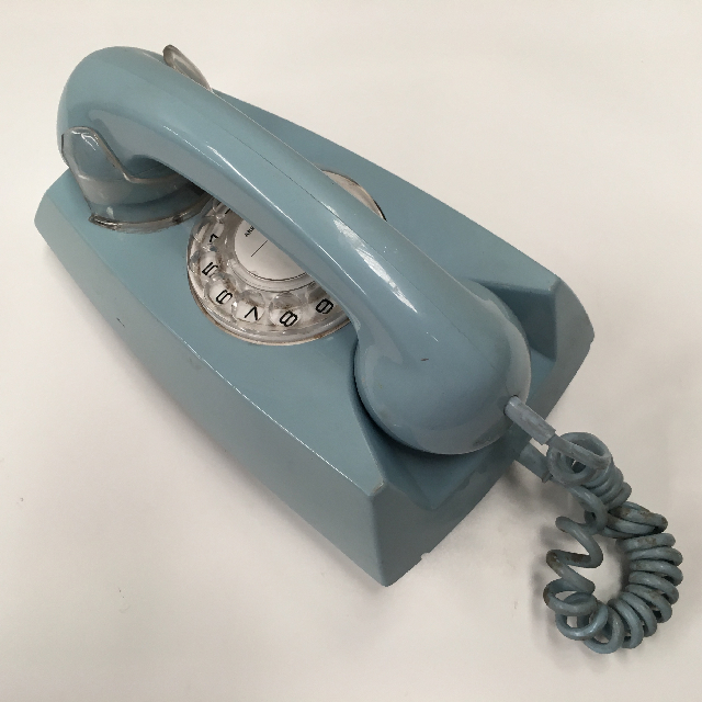 PHO0134 PHONE, Telephone 1980s Pale Blue Rotary Dial Wall Mount $25