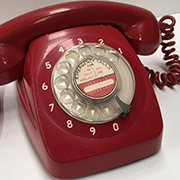 PHO0124 PHONE, Telephone 1960s Red Rotary Dial $25