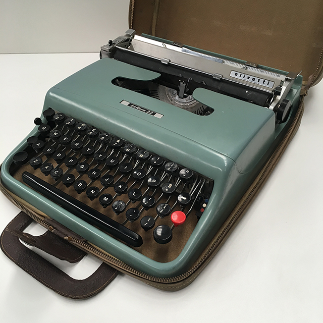 TYP0002 TYPEWRITER, Grey Green Olivetti with Case $25