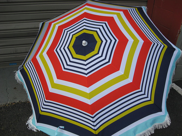 UMB0104 UMBRELLA, Beach - Navy, Red, Yellow, White Stripe with Fringe (2m High) $22.50