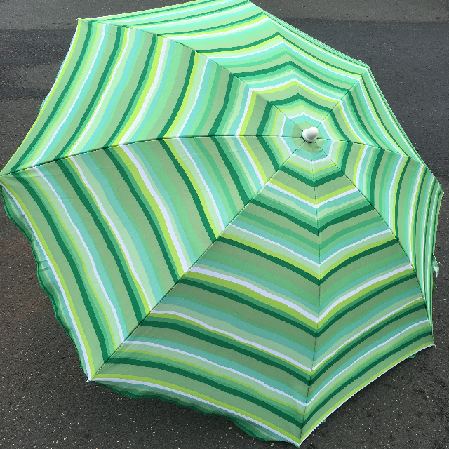 UMB0107 UMBRELLA, Beach - Three Tone Green Stripe $18.75