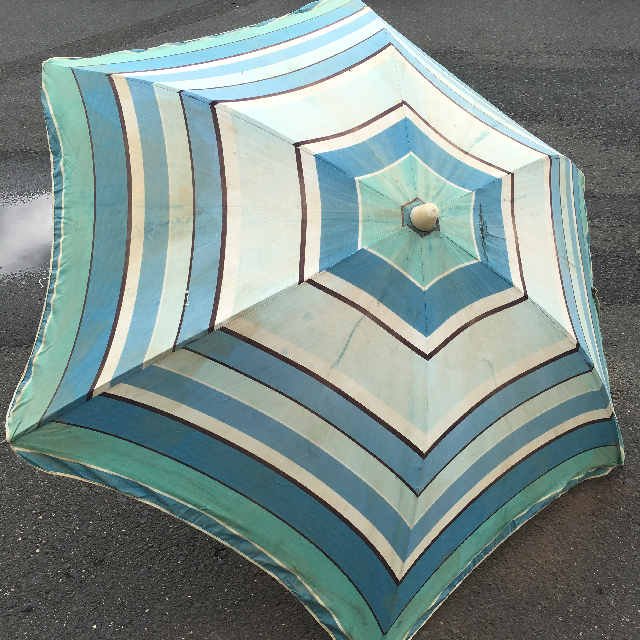 UMB0109 UMBRELLA, Beach - Three Tone Blue Vintage $22.50