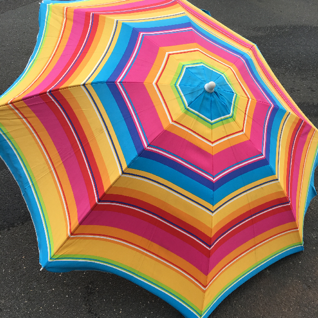 UMB0110 UMBRELLA, Beach - Bright Multicolour Stripe $18.75