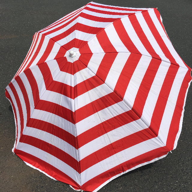 UMB0114 UMBRELLA, Beach - Red & White Stripe $18.75