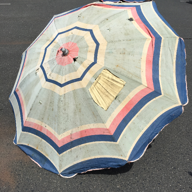 UMB0115 UMBRELLA, Beach - Faded Red, White & Blue Vintage $18.75