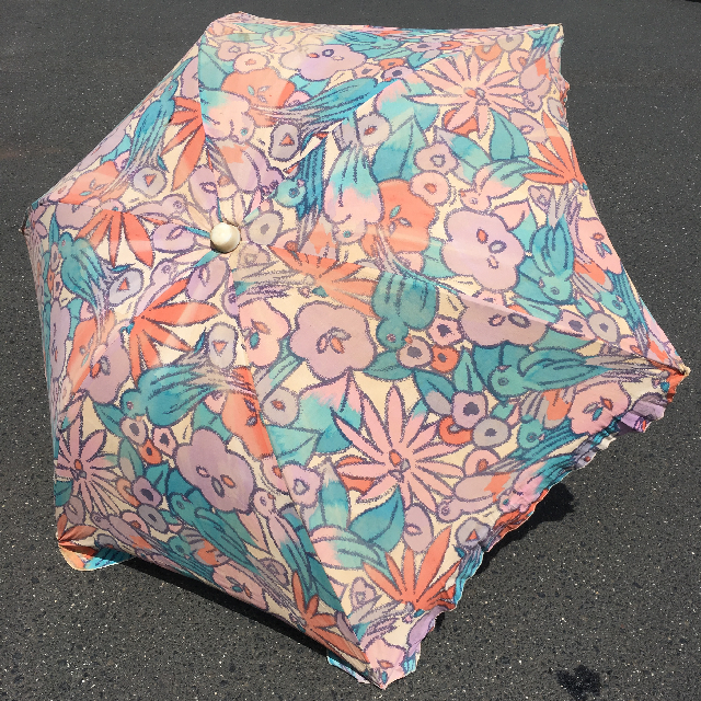 UMB0116 UMBRELLA, Beach - 1980s Floral, Mauve  $22.50