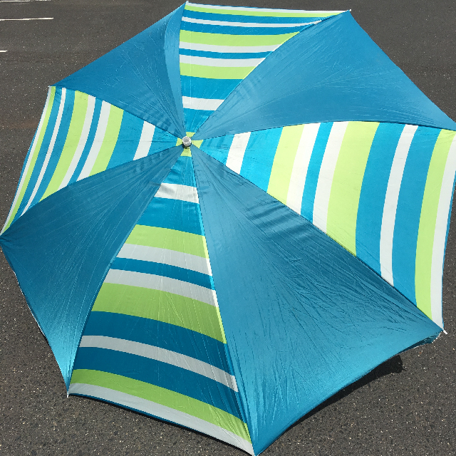 UMB0122 UMBRELLA, Beach - Aqua, Green & White Stripe $18.75
