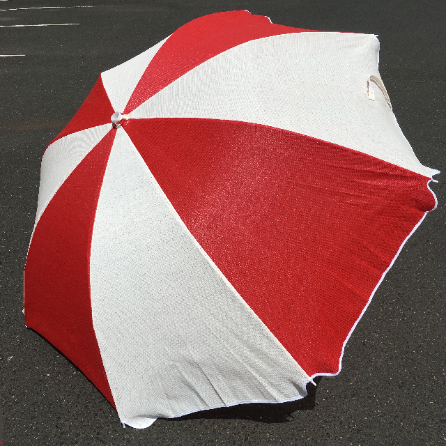 UMB0125 UMBRELLA, Beach - Red & White Mesh (shadecloth) $22.50