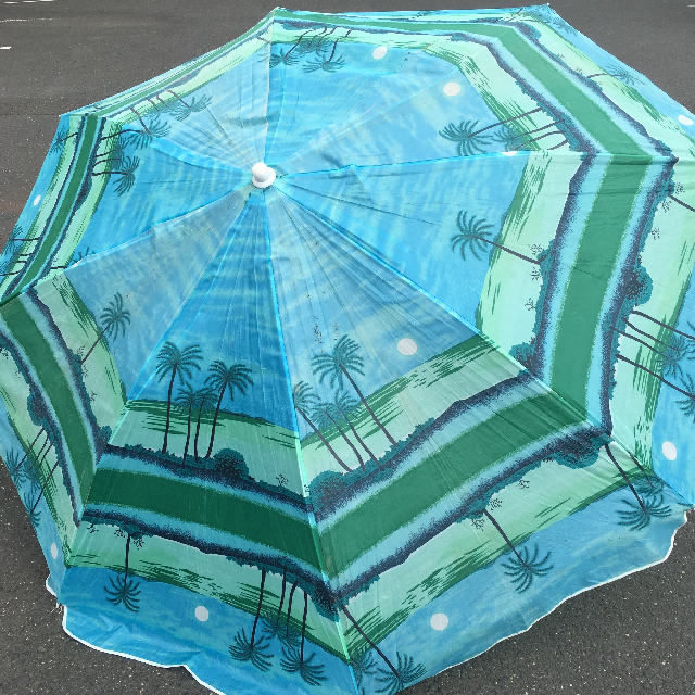 UMB0128 UMBRELLA, Beach - Blue Palm Trees $18.75