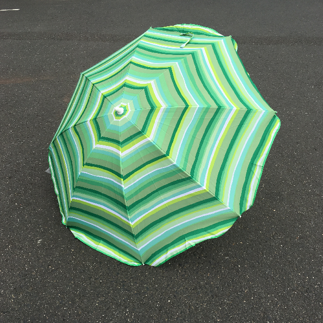 UMB0250 UMBRELLA, Table - Three Tone Green Stripe $12.50
