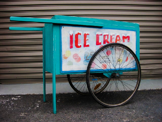 CAR0004 CART, Aqua - Small $137.50 with SIG0501 SIGN, Cart Sign - Ice Cream $30