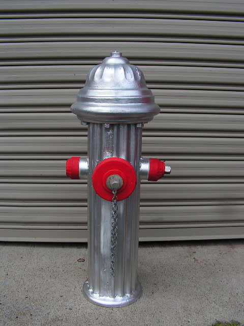 HYD0001 HYDRANT, Fire - USA Silver 90cm Tall $75