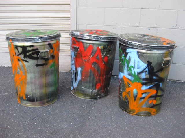 GAR0100 GARBAGE BIN, Metal Bin w Graffiti and Lid (45cm D x 65cm H) $30