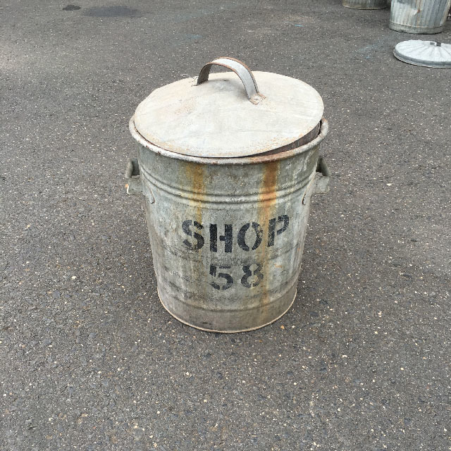 GAR0103 GARBAGE BIN, Galvanised - Shop 58 $22.50
