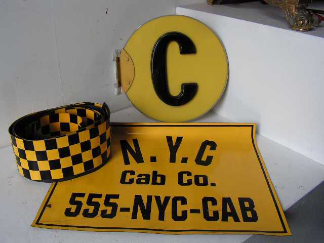 SIG0099 SIGN, New York Cab Sign - Wall Mount C $15 & Magnetic Car Stickers $30