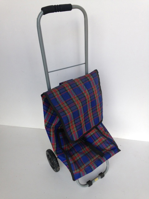 TRO0108 TROLLEY, Shopping Trolley - Blue Tartan $12.50