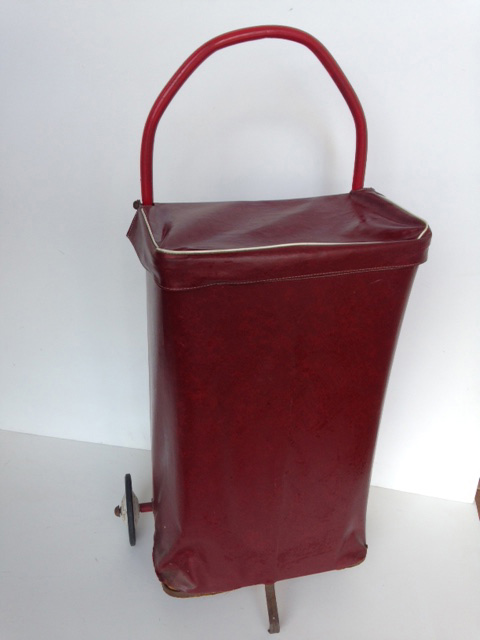 TRO0110 TROLLEY, Shopping Trolley - Dark Red Vinyl $18.75