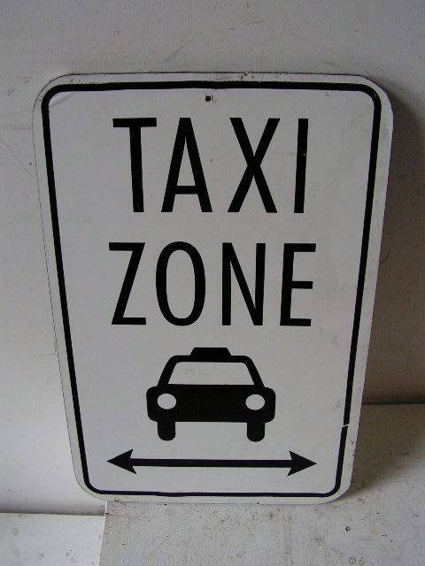 SIG0364 SIGN, Road Sign - Taxi Zone Black $11.25
