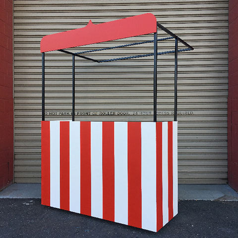 CAR0012 CART CANOPY, Black Metal Frame w Red Awning $75 (for Kissing Booth)